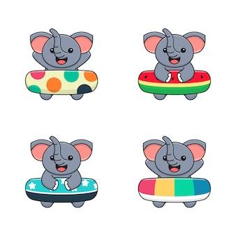 Lindo elefante con lunares, sandía y anillo de baño rainbow