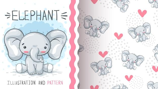 Lindo elefante de peluche - patrón sin costuras