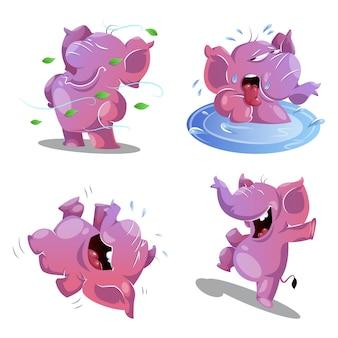 Lindo elefante rosa en 4 poses y emociones diferentes