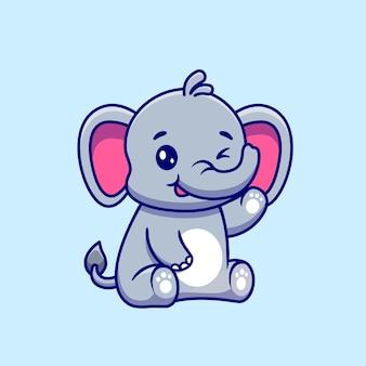 Lindo elefante sentado y agitando la mano de dibujos animados vector icono ilustración.