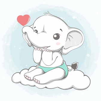 Lindo elefante sentado en la nube con corazón rojo de dibujos animados dibujados a mano