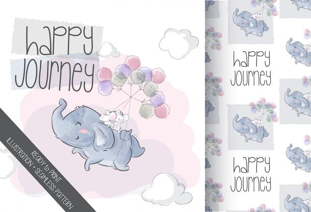 Lindo elefante volando con globo de dibujos animados animal de patrones sin fisuras