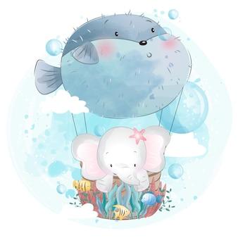 Lindo elefante volando con globo de peces