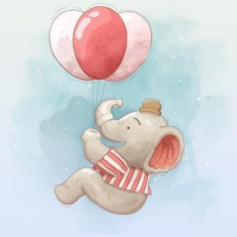 Lindo elefante volando con globos