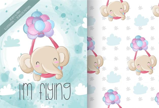 Lindo elefante volando con patrones sin fisuras