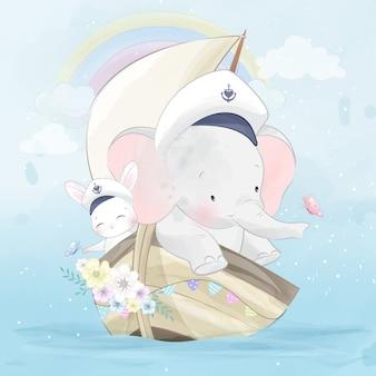 Lindo elefantito viajando con lindo conejito