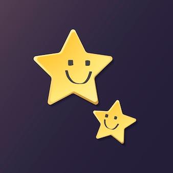 Lindo elemento de estrellas sonrientes, lindo vector de imágenes prediseñadas de clima sobre fondo púrpura