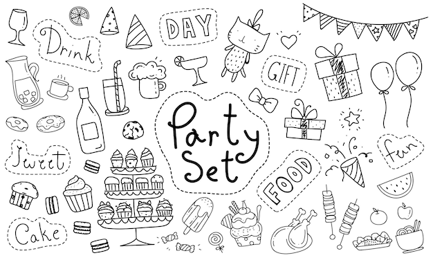 Lindo elemento de fiesta doodle dibujado a mano