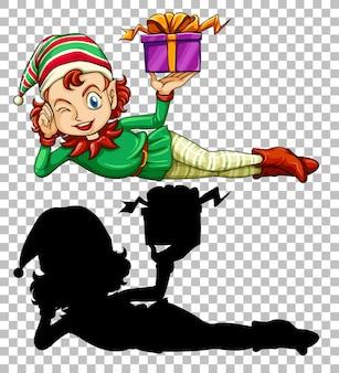 Lindo elfo y caja presente.