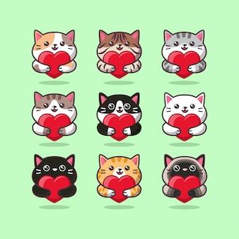 Lindo emoticon de cuidado de gato abrazando un corazón rojo