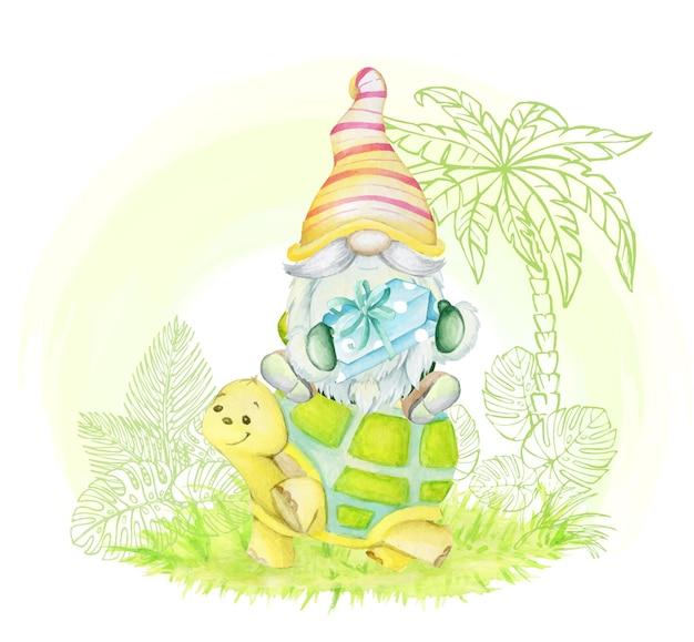 Lindo enano, sentado sobre una tortuga, sosteniendo un regalo. imágenes prediseñadas de acuarela, en estilo de dibujos animados