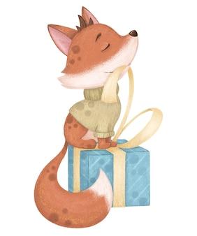 Lindo y encantador fox en suéter con regalo. ilustración digital de cumpleaños