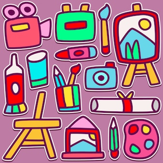 Lindo equipo de pintura de diseño doodle