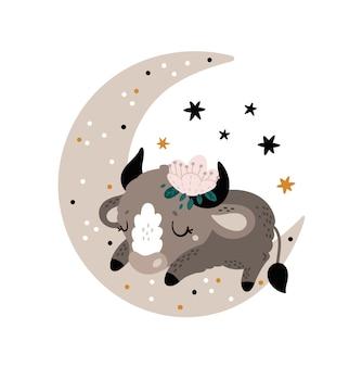 Lindo estampado infantil con pequeño toro, vaca, tauro, ternero bebé animal en la luna