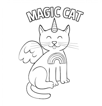 Lindo estilo de doodle de unicornio gato mágico blanco.
