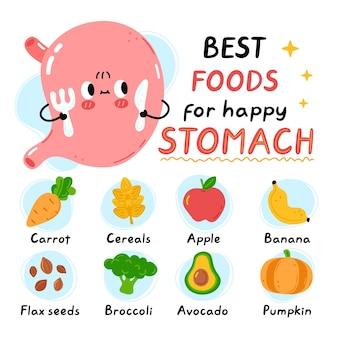 Lindo estómago con tenedor y cuchillo. los mejores alimentos para la infografía de estómago sano y feliz. vector plano doodle icono de ilustración de personaje de kawaii de dibujos animados. aislado en el fondo blanco infografía de alimentos saludables