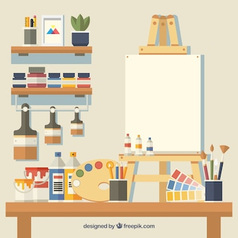 Lindo estudio de arte con muchos elementos