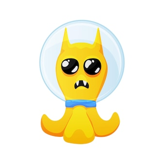 Lindo extraterrestre amarillo con ojos grandes con dibujos animados de traje espacial