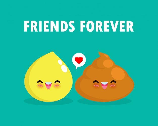 Lindo Personaje De Caca En El Estilo Kawaii De Japon Las Lindas Pegatinas De Poo Emoji Conjunto Aisladas Vector Premium