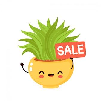 Lindo feliz cactus sonriente con cartel de venta