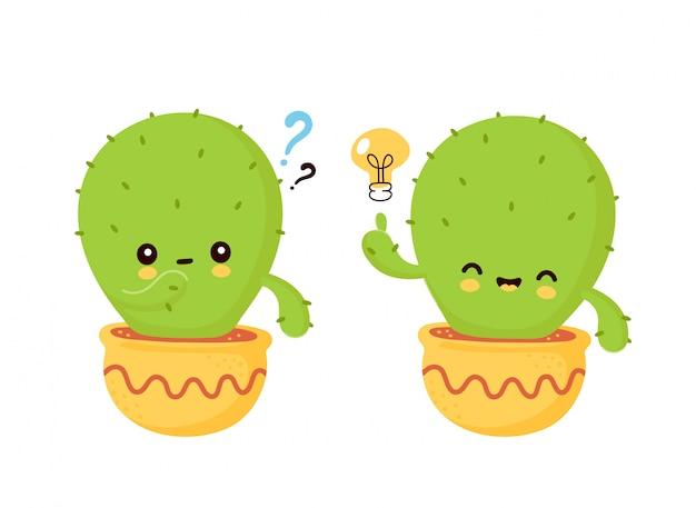 Lindo feliz cactus sonriente en maceta con bombilla y signo de interrogación. ilustración de dibujos animados plana. aislado sobre fondo blanco cactus tiene el concepto de idea