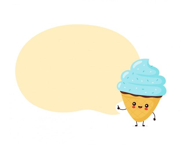 Lindo feliz cono de helado sonriente con burbujas de discurso.