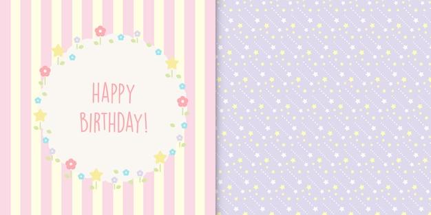 Lindo feliz cumpleaños tarjeta floral y estrellas de patrones sin fisuras