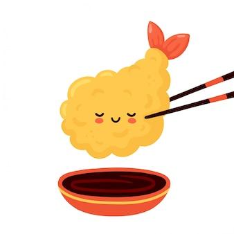 Lindo feliz divertido camarones tempura en palillos y salsa de soja. diseño de icono de ilustración de personaje de dibujos animados.