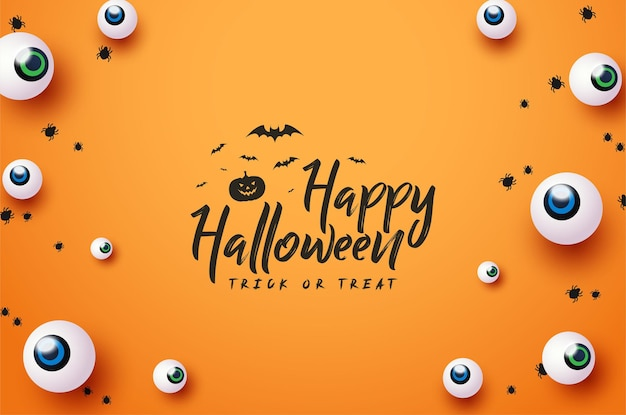 Lindo feliz halloween con decoración de ojos de monstruo