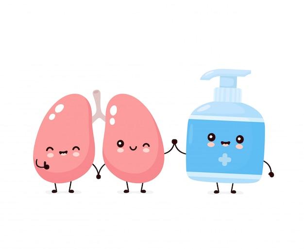 Lindo feliz sonriente botella antiséptica y pulmones. personaje animado.