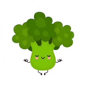 Lindo feliz sonriente brócoli vegetal meditar en pose de yoga. personaje animado.