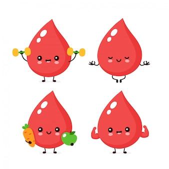 Lindo feliz sonriente conjunto de caracteres de gota de sangre saludable. concepto de personaje de gota de sangre