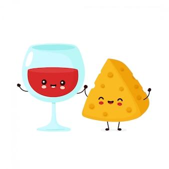 Lindo feliz sonriente copa de vino y queso. diseño de icono de ilustración de personaje de dibujos animados. aislado en el fondo blanco