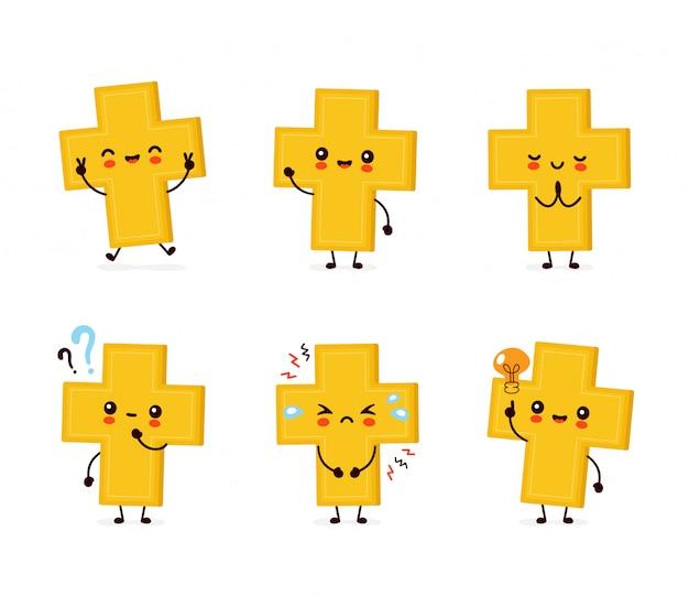 Lindo feliz sonriente cruz cristiana set colección. personaje animado.