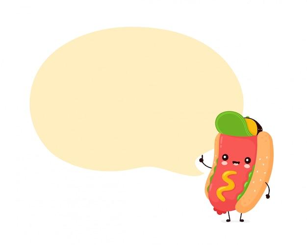Lindo feliz sonriente hot dog con bocadillo.