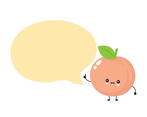 Lindo feliz sonriente melocotón con burbujas de discurso. icono de ilustración de personaje de dibujos animados plana. aislado en blanco fruta melocotón