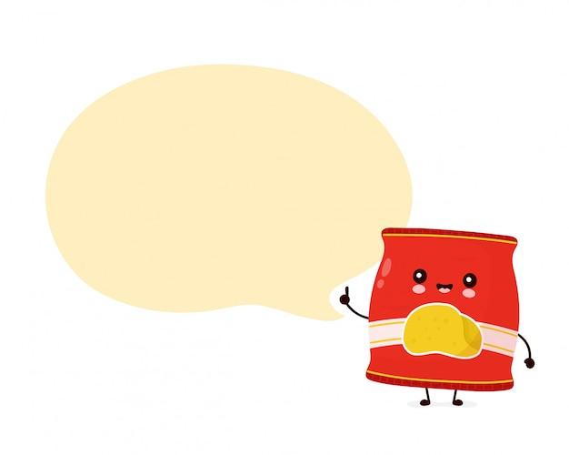 Lindo feliz sonriente paquete de chips con burbujas de discurso. diseño de icono de ilustración de personaje de dibujos animados. aislado sobre fondo blanco