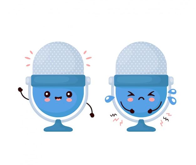 Lindo feliz y triste divertido estudio micrófono podcast. diseño de icono de ilustración de personaje de dibujos animados.