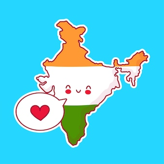 Lindo, feliz y triste, divertido mapa de la india y el carácter de la bandera con el corazón en el bocadillo de diálogo. icono de ilustración de personaje de kawaii de dibujos animados de línea. concepto de india