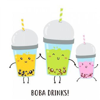 Lindo feliz varias bebidas boba diseño vectorial