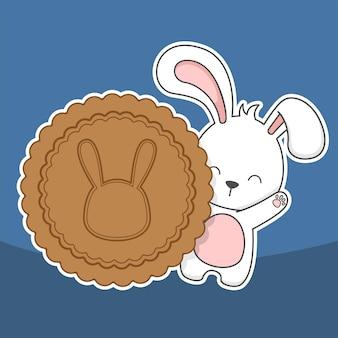 Lindo festival del medio otoño conejito conejo y pastel de luna