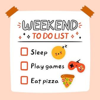Lindo fin de semana divertido para hacer la lista, lista de verificación