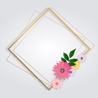 Lindo con flores y marco dorado. ilustración