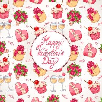 Lindo fondo de celebración colorido para el día de san valentín con un ramo de rosas, copas de champán y regalos