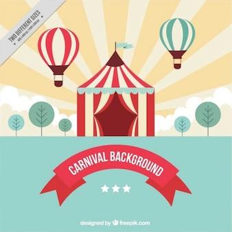 Lindo fondo con el circo y dos globos aerostáticos