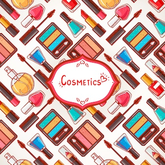 Lindo fondo colorido con cosméticos para mujeres y lugar para el texto