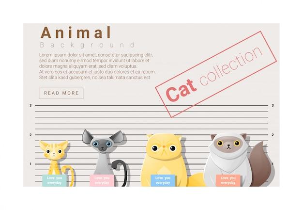 Lindo fondo familiar de animales con gatos.