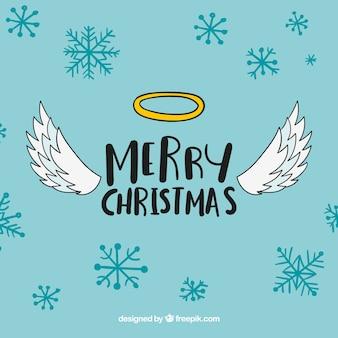 Lindo fondo de navidad con alas de ángel