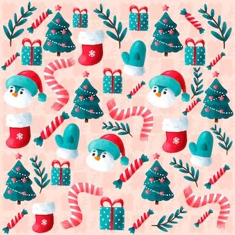 Lindo fondo de navidad dibujado a mano
