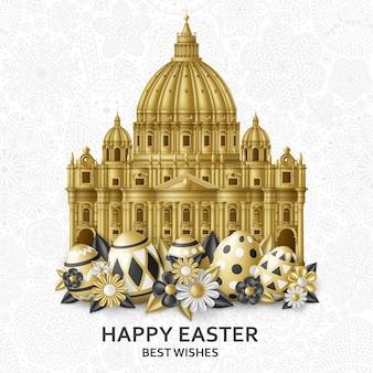 Lindo fondo de pascua con huevos, flores y la basílica de san pedro. ilustración dorada